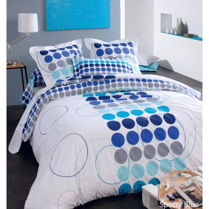 parure de lit spotty bleu 240x220 achat vente parure de lit cdiscount. Black Bedroom Furniture Sets. Home Design Ideas