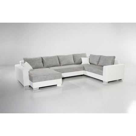 canap d 39 angle convertible mirama xxl blanc gris achat vente canap sofa divan cdiscount. Black Bedroom Furniture Sets. Home Design Ideas