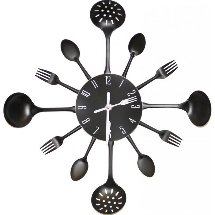 horloge murale cuisine noir achat vente horloge. Black Bedroom Furniture Sets. Home Design Ideas
