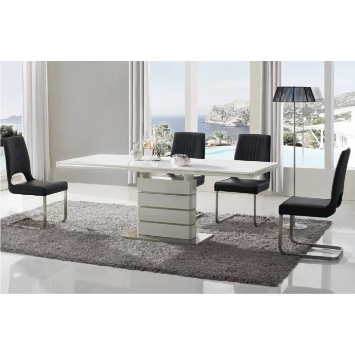 table de salle manger blanc laqu et acier ch achat vente table a manger seule table de. Black Bedroom Furniture Sets. Home Design Ideas