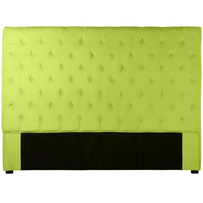 t te de lit capitonn e 160 cm velours vert anis am achat vente t te de lit cdiscount. Black Bedroom Furniture Sets. Home Design Ideas
