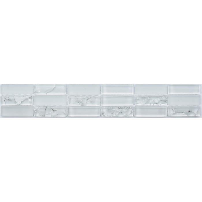 CARRELAGE - PAREMENT Listel en pate de verre Miroir - 5 x 30 cm - Blanc