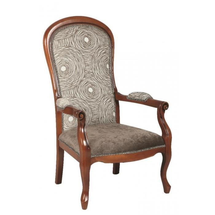 fauteuil voltaire en h tre et tissu motifs rond marron. Black Bedroom Furniture Sets. Home Design Ideas