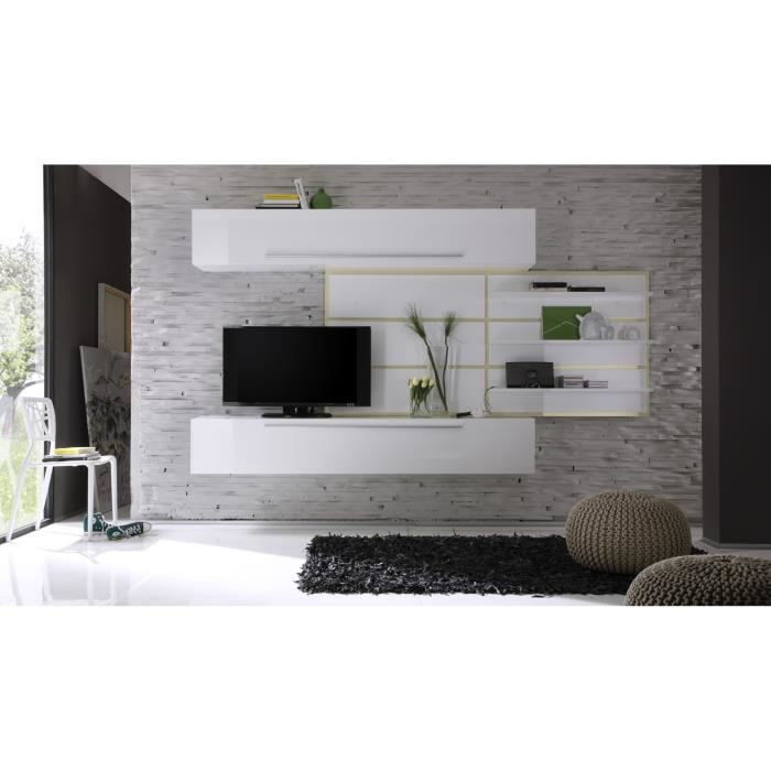composition tv murale design blanc laqu cru celtic achat vente meuble tv composition tv. Black Bedroom Furniture Sets. Home Design Ideas