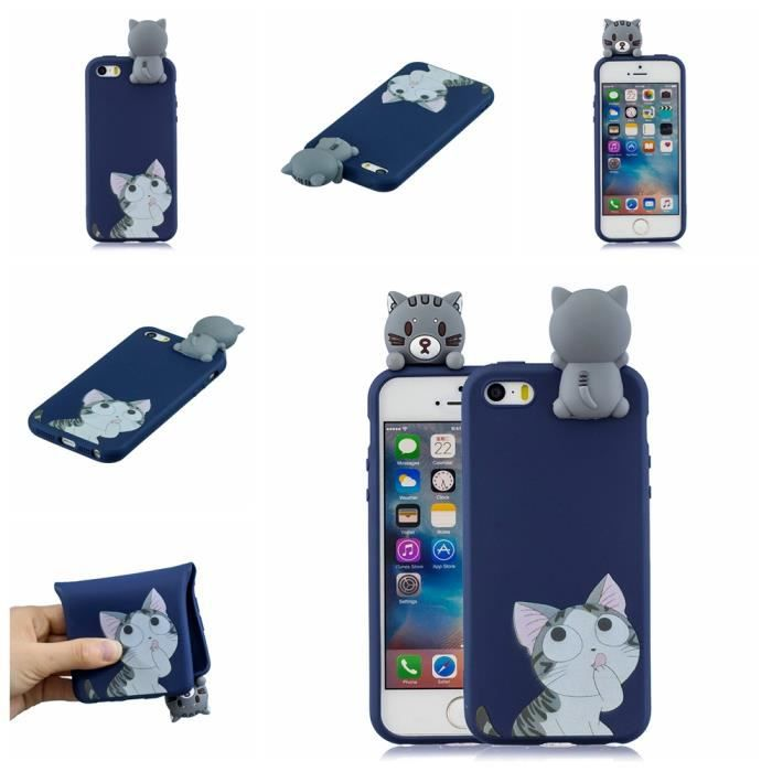 coque iphone 5s se 5 gros chat 3d motif anti rayur
