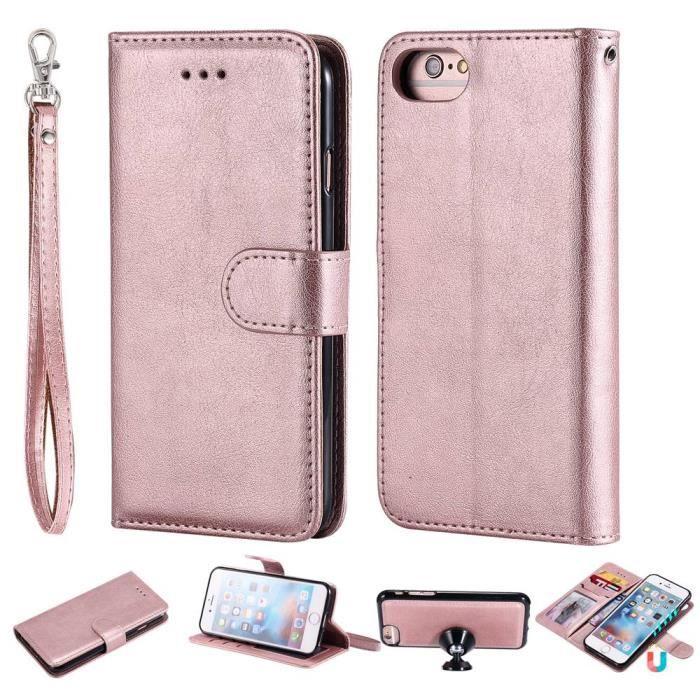 coque iphone 8 iphone 7 rose d or cuir premium fli