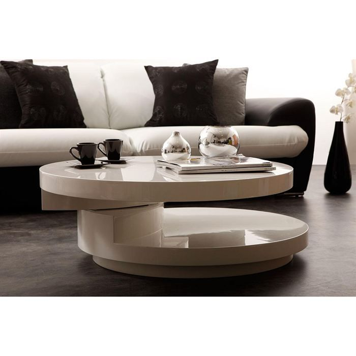 Table basse design blanche plateaux pivotants achat for Table basse blanche design