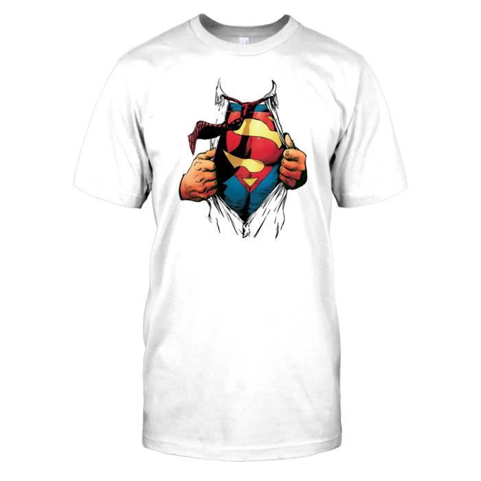 superman tearing off shirt blanc achat vente t shirt cdiscount. Black Bedroom Furniture Sets. Home Design Ideas