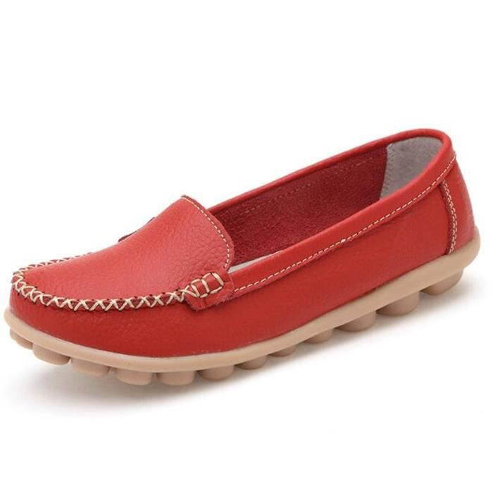 xz055rouge40 Respirant Bzh Chaussures Femmes Ete Mocassin Loafer YxqwRA0c4