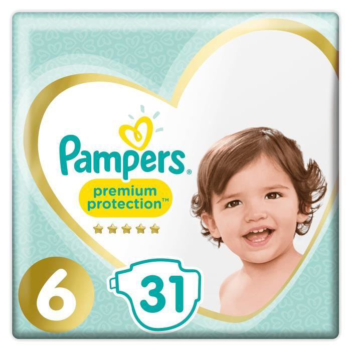COUCHE PAMPERS Premium Protection Taille 6 15+ kg - 31 Co