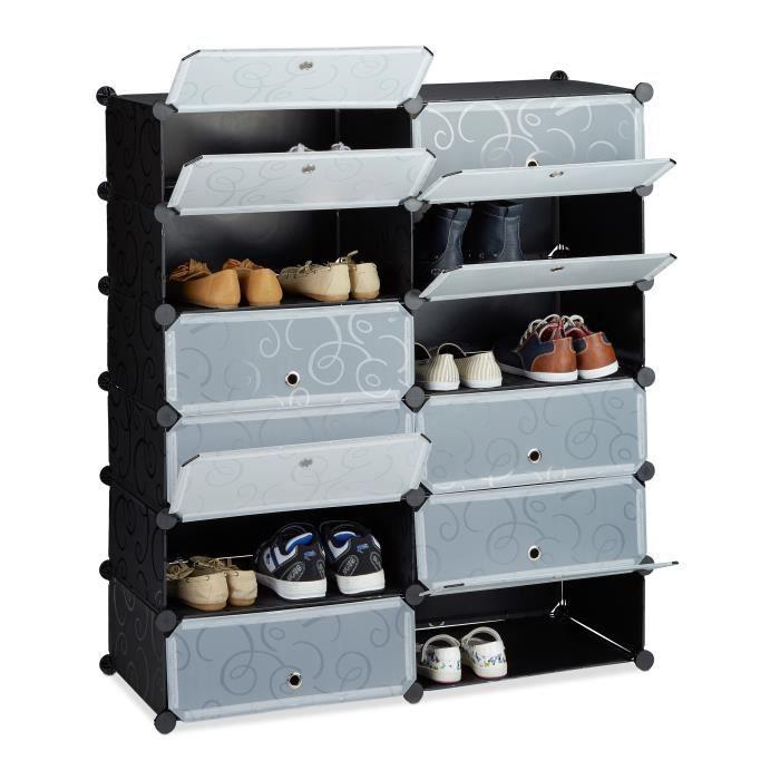 relaxdays meuble chaussures ferme rangement 12 casiers plastique chaussures modulable diy hxlxp 108x94x37 cm plusieurs couleurs
