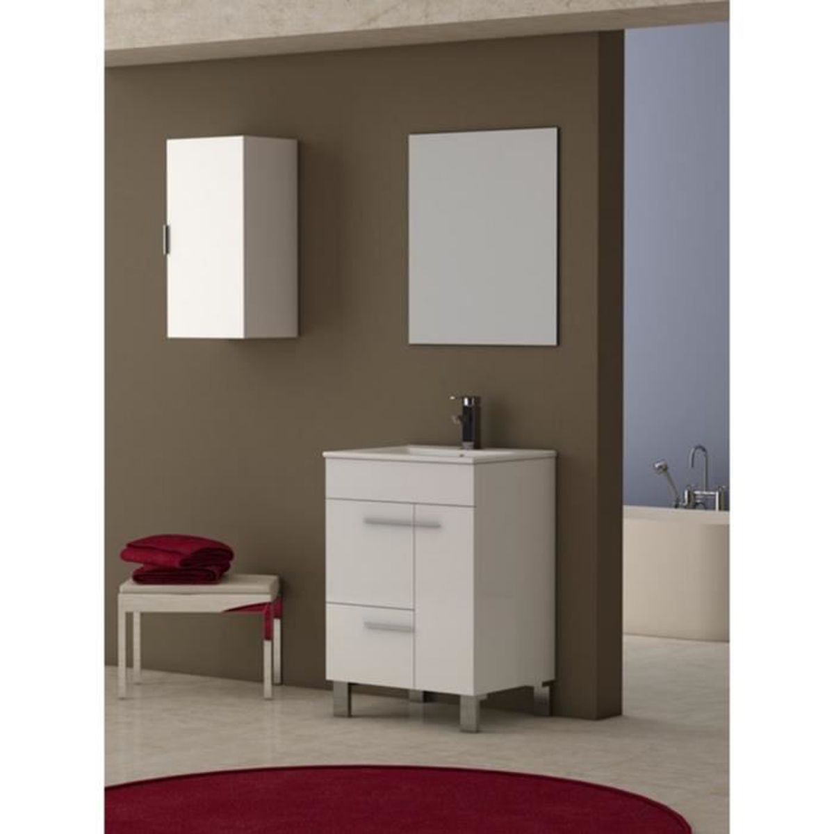 meuble de salle de bains mod le guapo blanc 60 cm achat. Black Bedroom Furniture Sets. Home Design Ideas