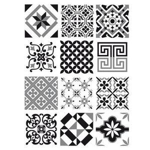 STICKERS Stickers Carreaux de Ciment - GREYBLACK - 12 pièce