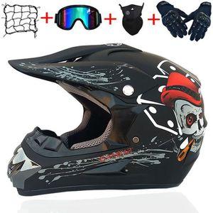 LEENY Moto Casque de Motocross avec Lunettes//Gants//Masque//Serrure /à Combinaison Noir Mat Casque de Cross Motorcycle Off-Road DH Enduro Casque VTT pour Hommes Femmes