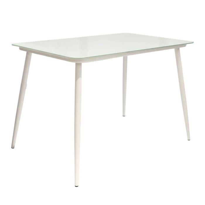 Tanita - Table Repas Rectangulaire Plateau Verre Blanc