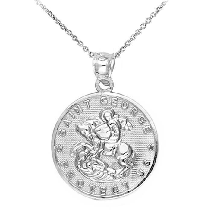 Chaine De Cou Vendue Seule CUVXZ Femmes Argent 925 Saint George Médaille protection Charm collier pendentif