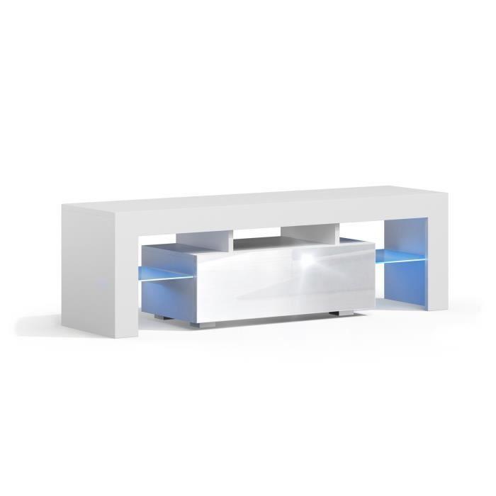 Meuble TV SPIDER à LED en Blanc MAT avec porte Blanc Laqué 130 cm