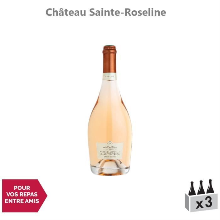 Côtes de Provence Cuvée La Chapelle Sainte Roseline Rosé 2019 - Lot de 3x75cl - Château Sainte-Roseline - Vin AOC Rosé de Provence