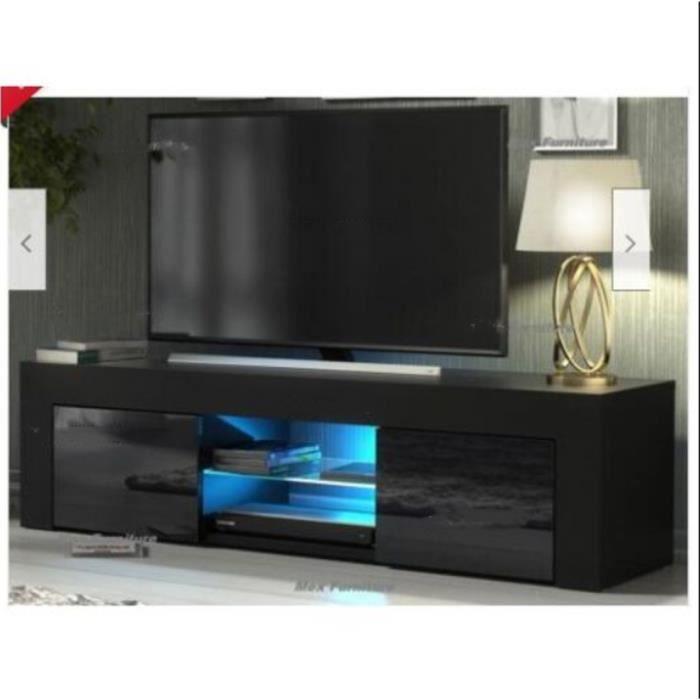 NOUVEAU MEUBLE TV - Noir - 130cm- noir mat - LED - style moderne - tablette en verre--Salon-Séjour
