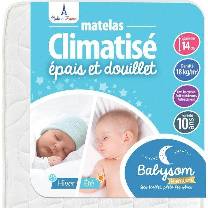 Babysom - Matelas Bébé Climatisé - 60x120 cm - Réversible : 1 Face Été Fraîche et 1 Face Hiver Ouatinée - Anti-acarien - Oeko-Tex®
