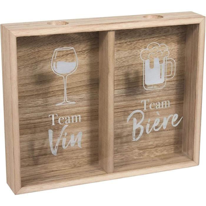 10ViN 39-1K-016 Cadre collectionneur Bouchon addict Bière et vin Beige blanc et transparent Bois et verre H24,5 x 5 x 30,5 cm