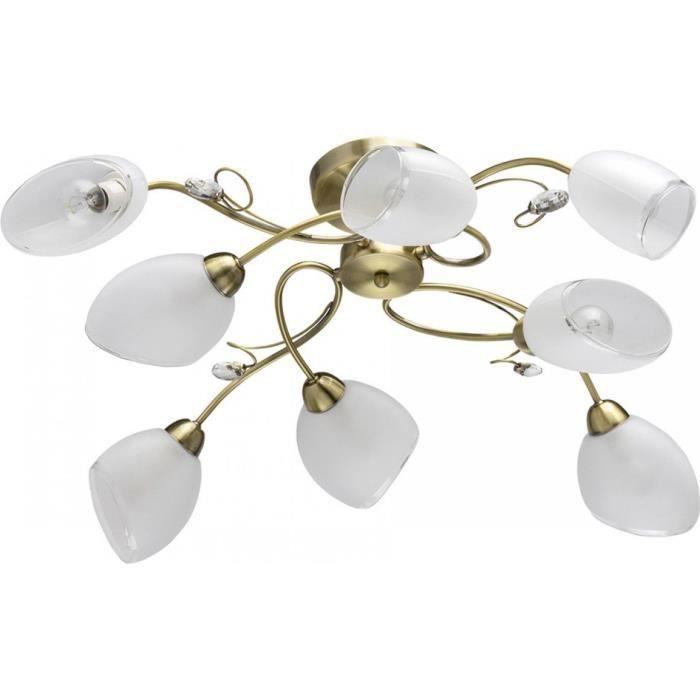 Plafonnier en métal blanc laitonné antique et verre 8 ampoules - Classic 23 Blanc