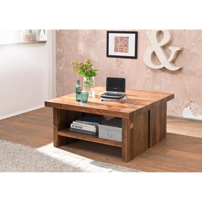 Table basse carrée 90x90cm - Bois massif de palissandre laqué (Noble Unique) - SYDNEY #120