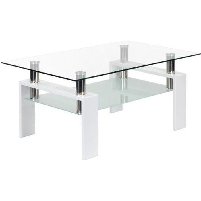 BIANCO - Table basse blanche laquée avec plateau en verre