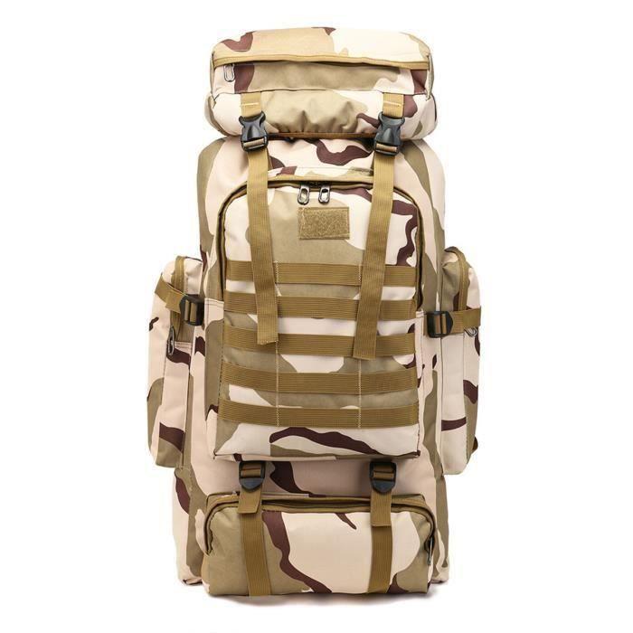 80L Grande Sac À Dos Tactique Militaire Randonnée Camping Backpack Nylon Voyage Camouflage Camouflage du plateau Me47982