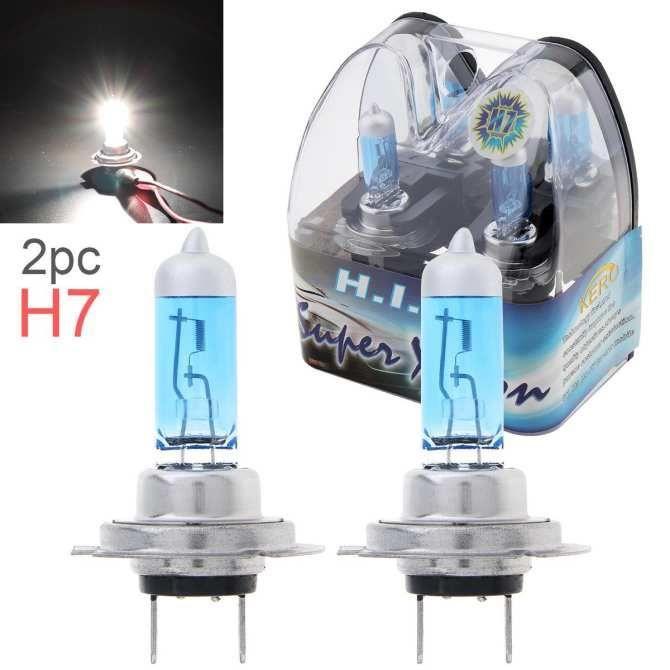 Une paire 12V H7 55W 6000K Blanc Light Super Bright Lampe halogène Lampe à halogène automatique