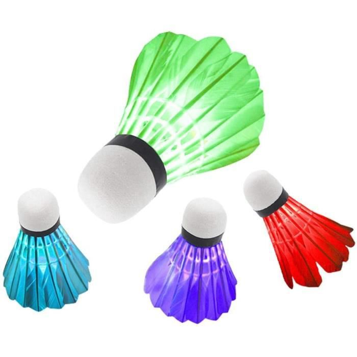 4 Pièces Badminton Volants Plume de Canard LED Coloré Lumière Badminton Volants Nuit Lumineux Badminton Volants Sport Formation 607