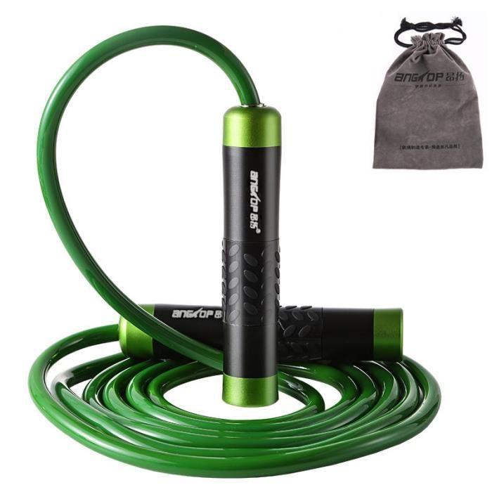 Corde à Sauter Réglable Haute Performance PVC Corde à Sauter pour Fitness Roulement Intégré -639 Vert