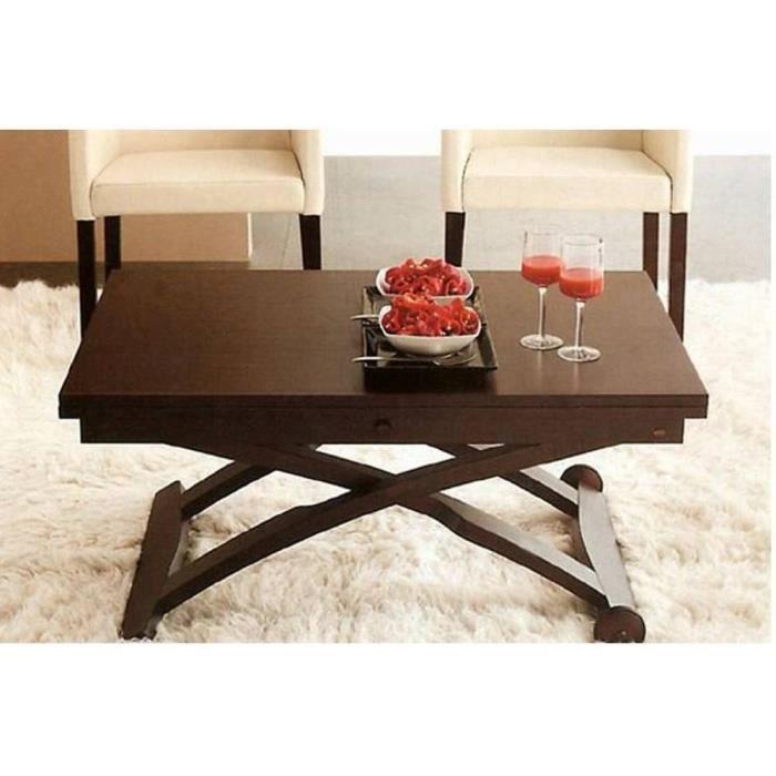 Table basse relevable extensible italienne MASCOTTE wengé marron Bois Inside75