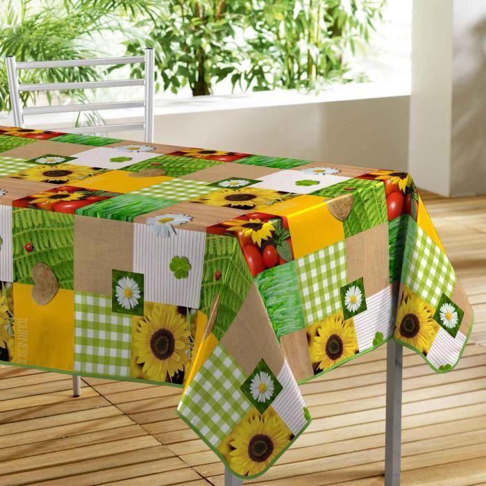 CDaffaires nappe rectangle 140 x 240 cm pvc Toile cirée Patchfleur