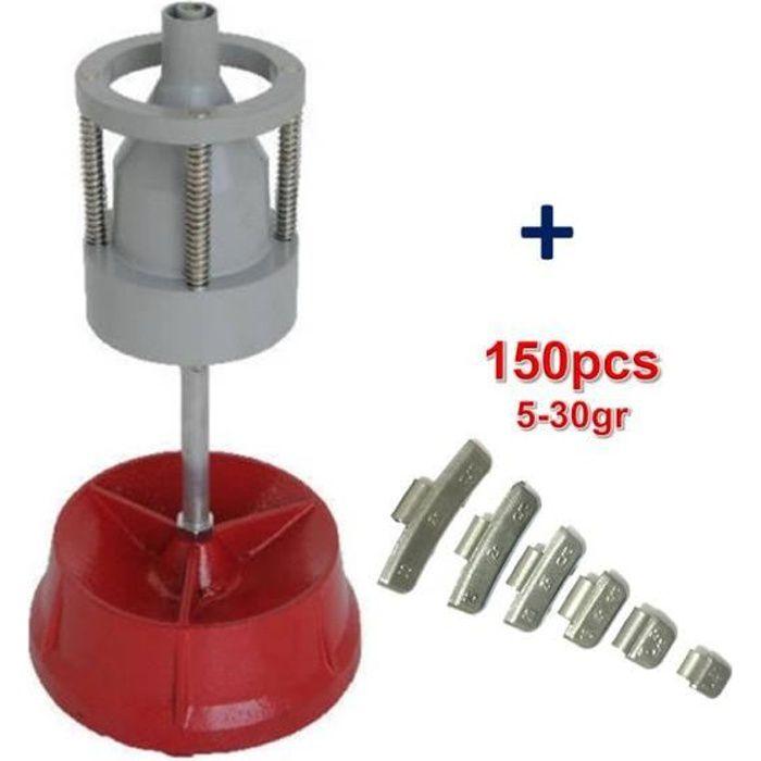 Equilibreuse de Roue Manuelle Portable avec Centreur + 150 Plombs Masse à Frapper 5-30gr