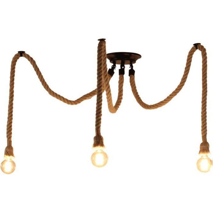 EXBON 3 Tête Lustre Suspension Araignee Industrielle Lampe Plafond Corde de Chanvre Luminaire pour Restaurant Hôtel