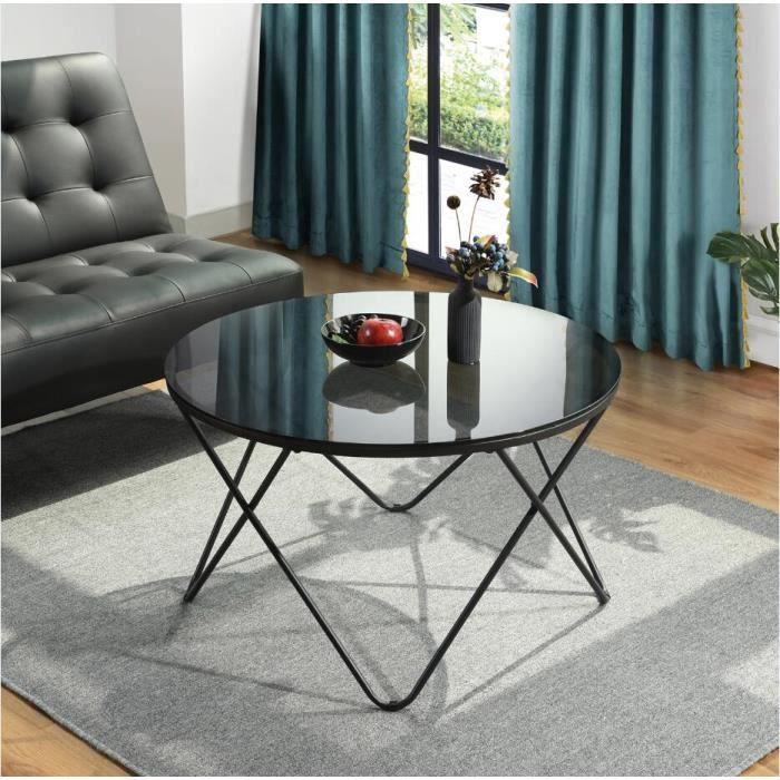 Table basse ronde verre gris clair D80cm