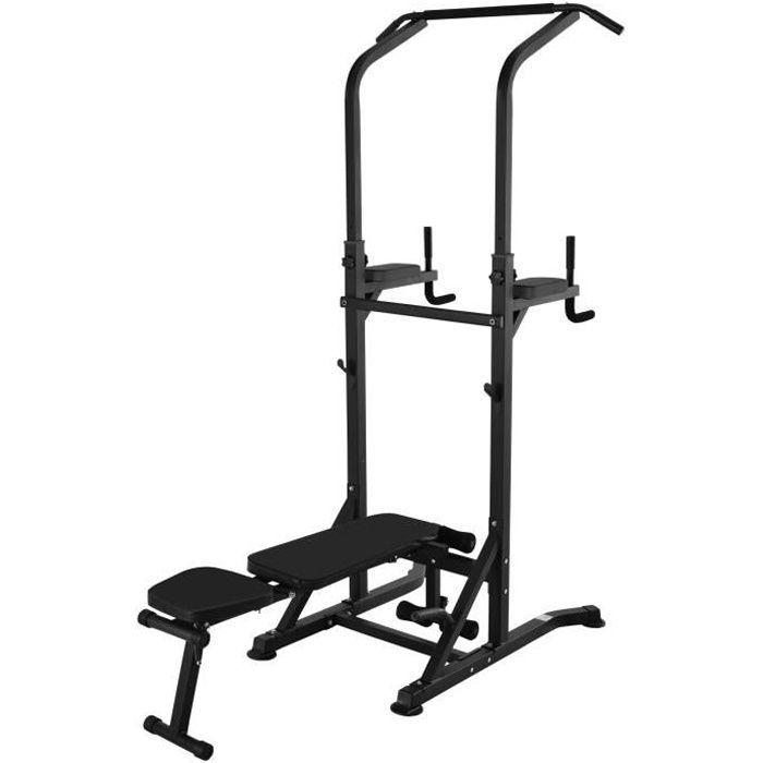 Station de musculation Fitness entrainement complet - barre de traction, à dips, banc de musculation pliable, poignées push-up -