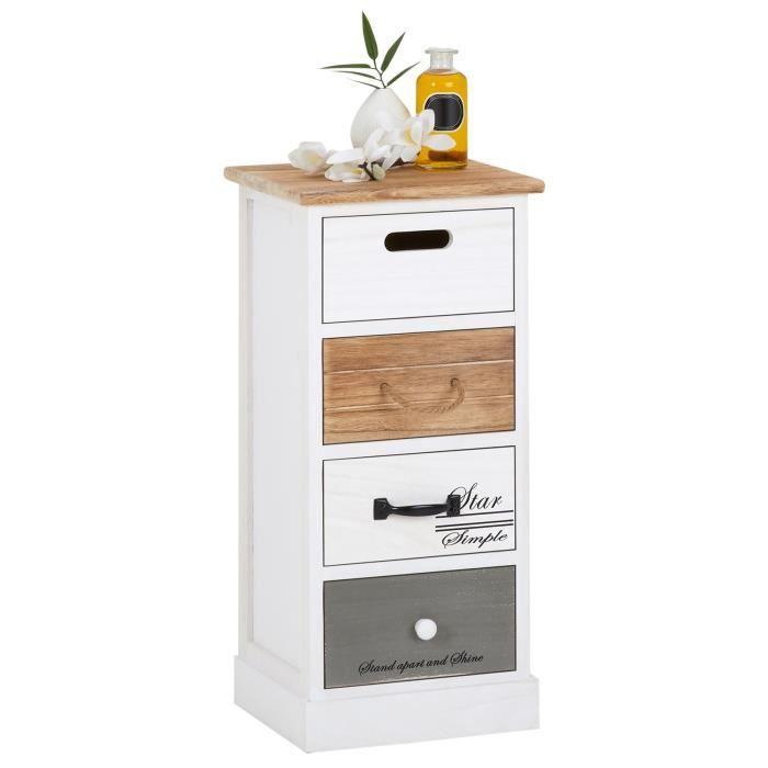 Chiffonnier SALVA étagère de rangement avec 4 tiroirs en bois de paulownia style shabby chic vintage rustique blanc brun gris
