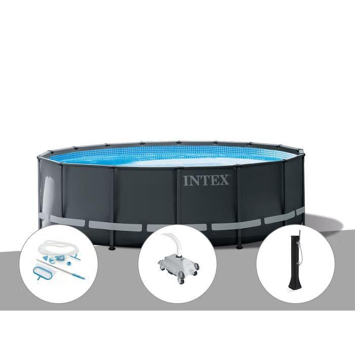 Kit piscine tubulaire Intex Ultra XTR Frame ronde 5,49 x 1,32 m + Kit d'entretien + Robot nettoyeur + Douche solaire