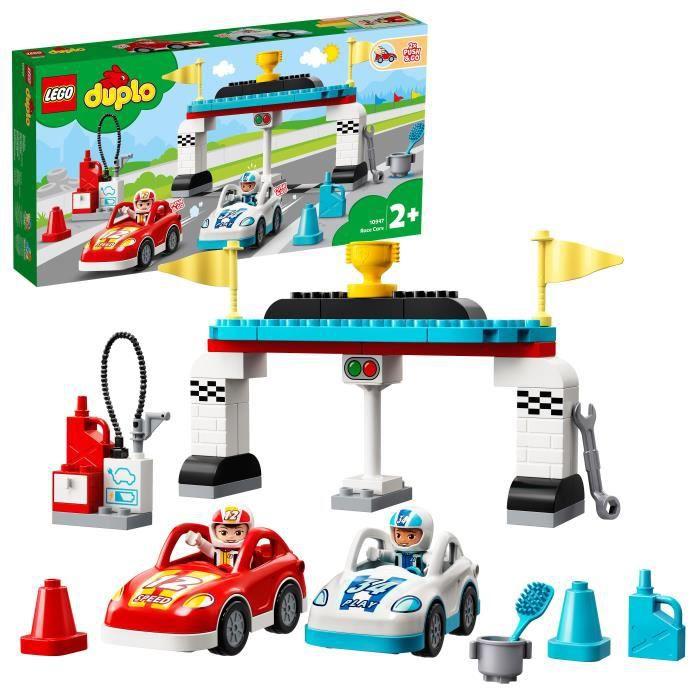 LEGO® 10947 DUPLO® Les voitures de course Jouet Enfant 2+ ans, Petites Voitures