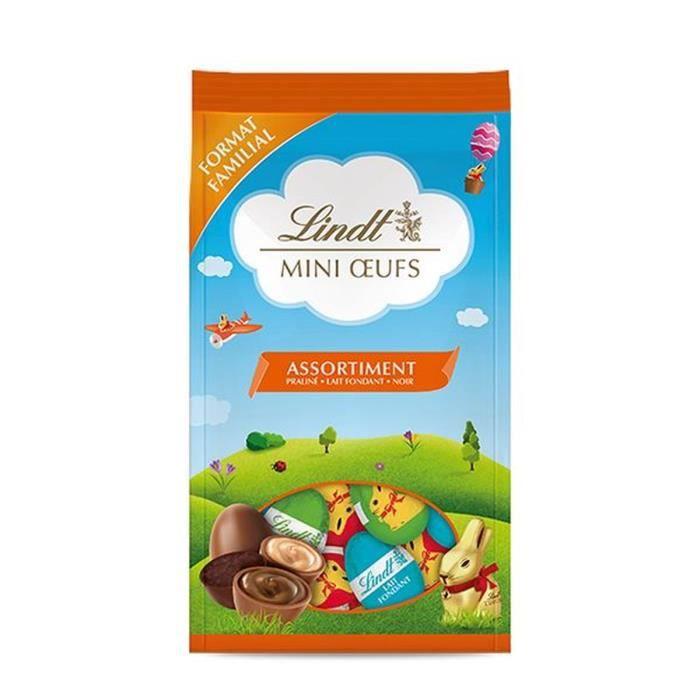 LINDT & SPRÜNGLI Sachet Mini œufs Lapin Or (Lait fondant, noir, praliné) - 350 g