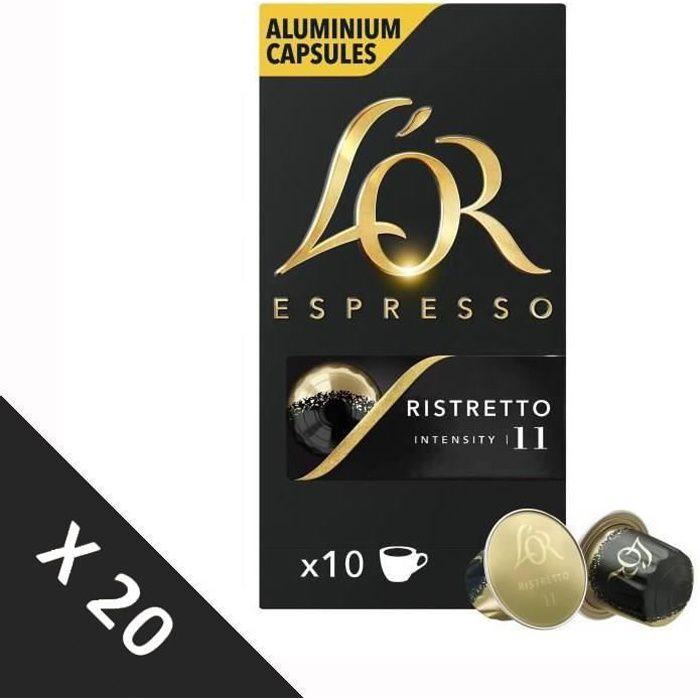 [Lot de 20] Café Capsules L'Or Espresso Ristretto - intensité 11 - compatible Nespresso®* - 10 capsules - 52g