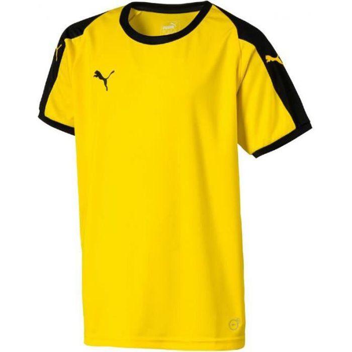 Maillot Puma Liga Jersey coloris Cyber Yellow - Puma Black