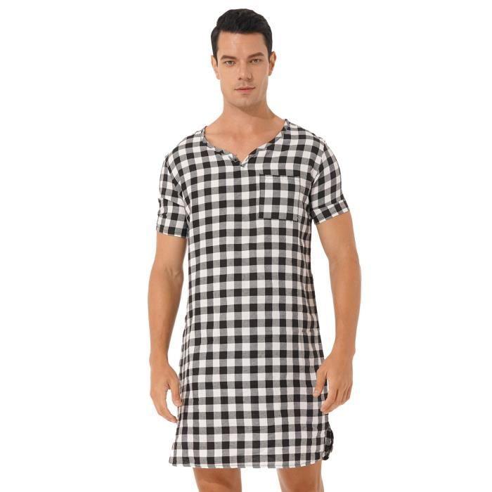 CHICTRY Vêtement de Nuit pour Homme Pyjama Manches Courtes Confortable Robe de Chambre M-3XL Noir