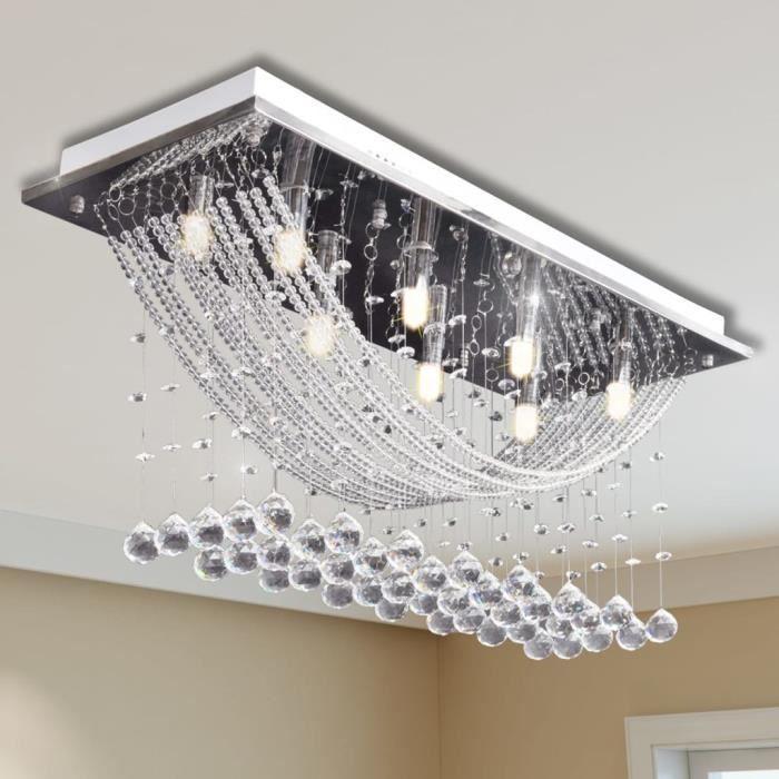 Magnifique-Plafonnier Lampe de Plafond Lustre moderne avec perles en verre cristal étincelant Blanc 8 x G9 29 cm pour chambre à
