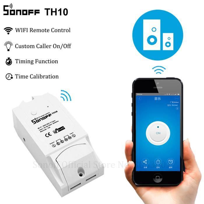 Sonoff TH10 Commutateur Interrupteur Intelligent WiFi sans fil Surveillance de Température et Humidité Maison Intelligente Domotique