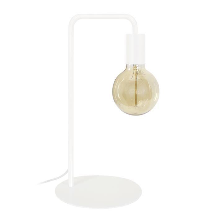 NORWICH Lampe à poser en acier - L22 x P18 x H45 cm - Blanc - Ampoule LED 4W E27 comprise