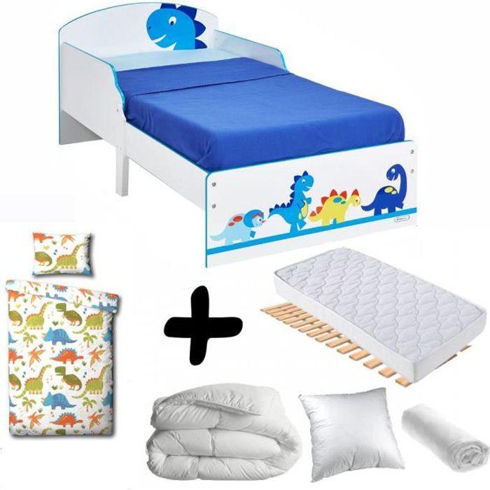 Pack complet Premium Lit enfant Dinosaure = Lit+Matelas & Parure+Couette+Oreiller