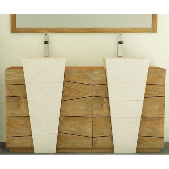 Meuble de salle de bain rhodes vasque blanche l160 en teck - 3 portes